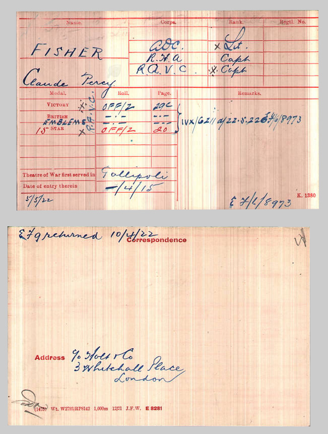WWI medal card